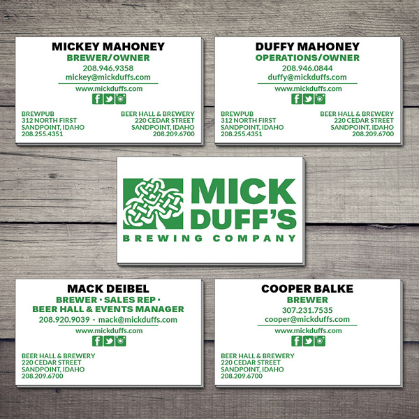 MickDuff's business cards